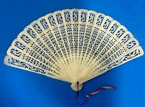 ANTIQUE CHINESE CARVED  BOVINE BONE HAND FAN