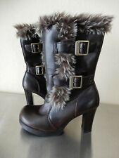 Hippy BoHo Lei Brown Boot Faux Leather Faux Fur Chunky Heel Platform Retro Sz 6M