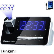 Radiowecker mit Projektion Funkuhr LED, USB, Funk, blaue Projektion, Funkwecker