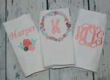 Personalized Girls Burp Cloth Flower Set 3 Monogram Burp Cloths Coral Aqua Gray