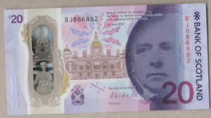 BANK OF SCOTLAND NEW POLYMER £20 UNCIRCULATED PREFIX [ BJ 866882 ]  FREEPOST UK