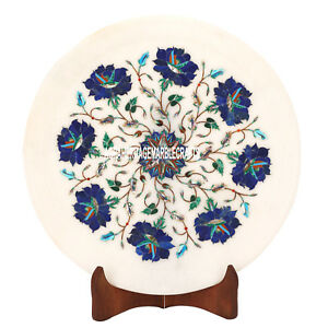 12'' Marble Round Plate Lapis Stone Inlay Marquetry Collectible Arts Decor H3586