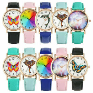 Fashion Women's Watches PU Leather Band Layd Dress Analog Quartz Wristwatch Gift