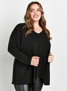 Evans Womens Black Sparkle Jacket Warm Winter Coat Top Outwear Blazer Cardigan