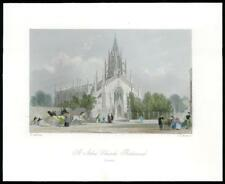 1850 Original Antique Print SURREY ST JOHN'S CHURCH RICHMOND (GC3/39)