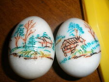 2 vintage marble alabaster stone egg with picture of house, trees
