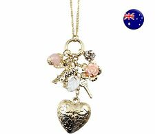 Women Bohemia Retro Gold color Heart Rose Key Bow Eiffel tower Long Necklace