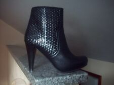 NEW JANCOVEK WOVEN LEATHER BLACK ANKLE BOOTS, SIZE 6, 100% LEATHER MADE IN SPAIN