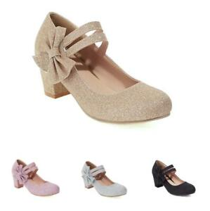 Sweet Women's Block Heel Bow Round Toe Buckle Strap Mary Janes Shoes 41 42 43 D
