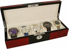 """Orbit Watch Box Red And Black Wood Finish """"Slight Scratches"""" OW176 RRP £60"""