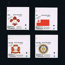 Tonga Anzac Day / Scouting Issue IMPERFORATE Singles - Set of 4 Stamps