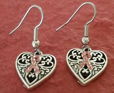 Breast Cancer Earrings awareness Pink Crystals Heart New Dangle Charm Ribbon
