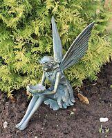 Large Garden Ornament Sitting Fairy Sculpture Antique Bronzed finish 39cm tall