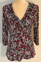 Christopher & Banks Floral Knit Blouse Top With Back Tie 'Red Black Women's XL