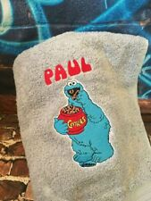 Personalised Embroidered Cotton Cookie Monster Hand Bath Towel Facecloth Gift