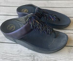 FITFLOP Size 9 Cha Cha Beaded Thong Wedge Sandals Slides Slip On Sapphire Blue