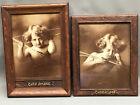 c.1920s CUPID AWAKE / ASLEEP Orig. Antique Framed Prints (c)1897 M.B. Parkinson