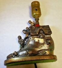 ANTIQUE DODGE OLD WOMAN WHO LIVED IN A SHOE CHILDREN BOOKEND BRONZE TOY ART LAMP