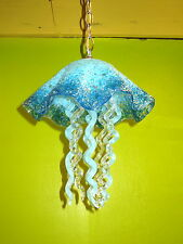 Blown Glass Chandelier - Jellyfish Light - Turquoise & Clear Chandelier - Lamp