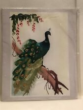 Peacock Bird Wheat Stalk on Silk Hand Cut and Painted Artwork.New Sealed