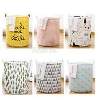 M/L Laundry Hamper Cotton Woven Handbag Storage Basket Baby Toy Bin Home Bag