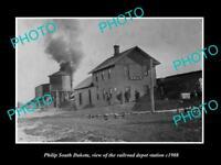 OLD LARGE HISTORIC PHOTO OF PHILIP SOUTH DAKOTA, RAILROAD DEPOT STATION c1908