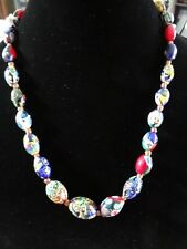 "Antique Venetian Murano Oval Millefiori Bead Necklace Glass Art Deco 22"" Italy"