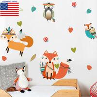 Woodland Tribal Animal Wall Sticker Fox Owl Vinyl Art Decal Baby Kids Room Decor