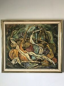 MID CENTURY MODERN ABSTRACT OIL PAINTING BY F NELSON 1950 STILL LIFE EXPRESSIONT
