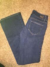 Women's VGUC PAIGE Sz 28 Hidden Hills Dark Blue Boot Cut Low Rise Jeans
