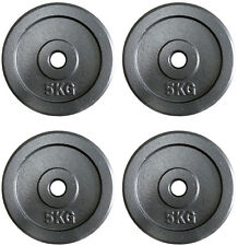 """4 x 5Kg Weight Discs, Cast Iron, 1"""" clearance hole, Plates for 1"""" Bars"""