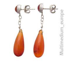 Vintage Silber Ohrringe Karneol Tropfen poliert silver earrings carnelian drop