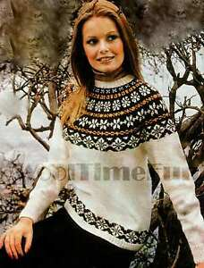 Vintage Knitting Pattern Lady's Classic Fair Isle/Skiing Jumper 36-40 Inch Chest