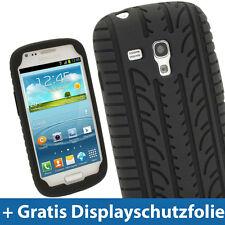 Schwarz Silikon Reifen für  Samsung Galaxy S3 III Mini I8190 Android Tasche