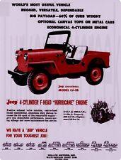 "Willys Jeep CJ-3B  9"" x 12"" Sign"