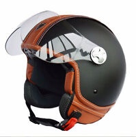 ECE Motorcycle Motorbike Scooter Jet Casco Vintage Leather 3/4 Open Face Helmet