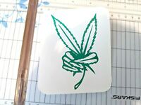 "Peace  Pot Leaf Cannabis Vinyl Decal Sticker 420 Marijuana Weed 4"" tall by 2.2"""