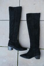 H&M TREND Wildleder Highknee Overknee Stiefel schwarz Vintage Blockabsatz Gr. 41