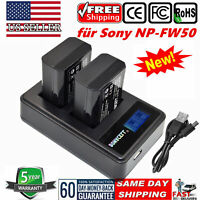 USPS NP-FW50 Battery /LCD Dual Charger For Sony Alpha 7R A3000 A5000 A6000,NEX-3