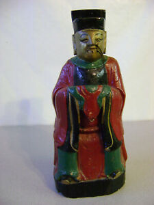 Old Chinese Wood Painted ( Shakyamuni Amitabha Sakyamuni? )Buddha Sculpture