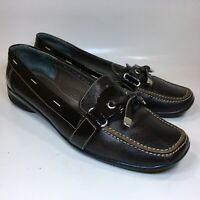Segni Collection Womens Loafers Brown Leather Slip On Flats Comfort Shoes Sz 8M
