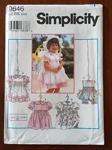 SIMPLICITY PATTERN - 9646 GIRLS DRESS PINAFORE SUNSUIT PANTS SMOCKING 2-4 UNCUT