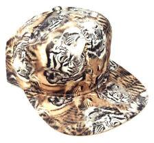 BENGAL TIGER FACE ANIMAL ALL OVER PRINT SNAPBACK HAT CAP FLAT BILL ADJUSTABLE