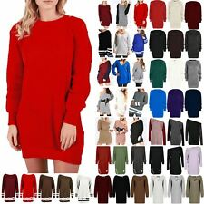 Women Jumper Dress Long Sweater Ladies Oversized Long Sleeve Chunky Knitted Top