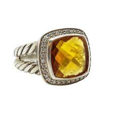 ESTATE David Yurman 11mm Albion Ring with Citrine & Diamonds Size 6.5 beautiful