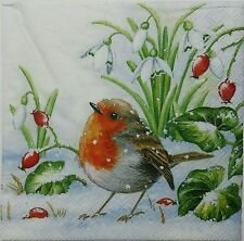BIRD ON THE SNOW 2 individual LUNCH SIZE paper napkins for decoupage 3-ply