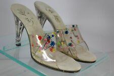 L. A. Lady Flower Vinyl Beautiful High Heels 7N Very Cute Unique open toe sandal