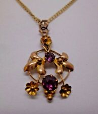 9ct yellow gold amethyst antique pendent with 18' curb chain,  '375'