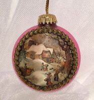 "VTG Pink Krebs Satin Ornament Silk Winter Scene Fabric Trim W Germany 3"""