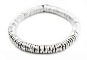 Silver Donut Beads 10mm Disk White Metal Large Hole 10 Inch Strand
